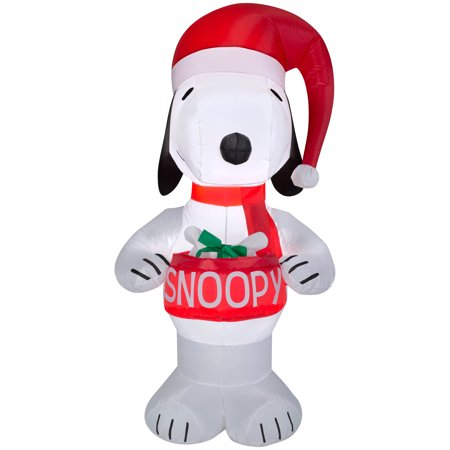 Airblown Inflatable-Snoopy Holding Bowl 5ft tall by Gemmy - Inflatable Snoopy