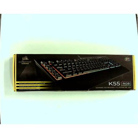 Refurbished CORSAIR K55 RGB Gaming Keyboard - Quiet & Satisfying LED  Backlit Keys - Media Controls - Wrist Rest Included – Onboard Macro Rec