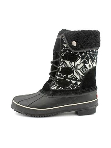 Khombu Aztec Womens Size 7 Black Leather Snow Boots