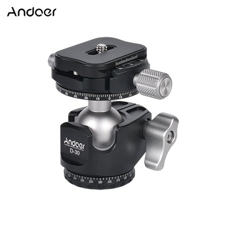 Andoer D-30 Professional Double Panoramic Head CNC Machining Aluminum Alloy Ball Head Double U Notch Design Low Center of Gravity for Tripod Monopod DSLR ILDC Cameras Max Load Capacity 18kg