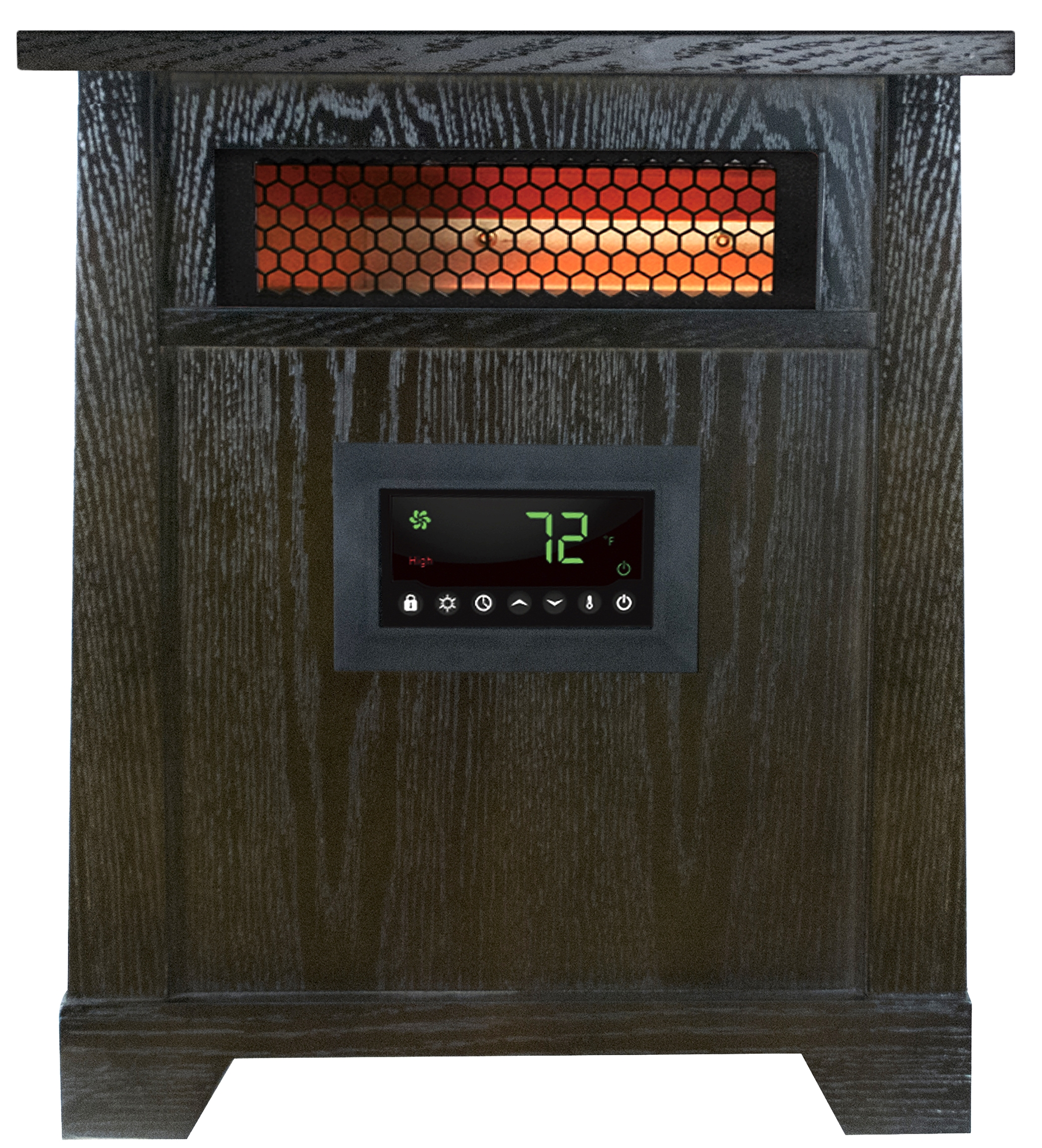 6 Element Infrared Heater with Wood Cabinet Lifetime Air Filter and Remote