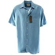 Tasso Elba NEW Blue Mens Size 3XLT Solid Button Down Silk Pocket Shirt $49