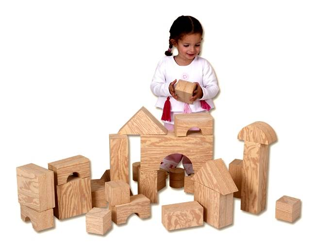 Oversized Foam Wood Look Building Blocks Set Set of 32 by edushape