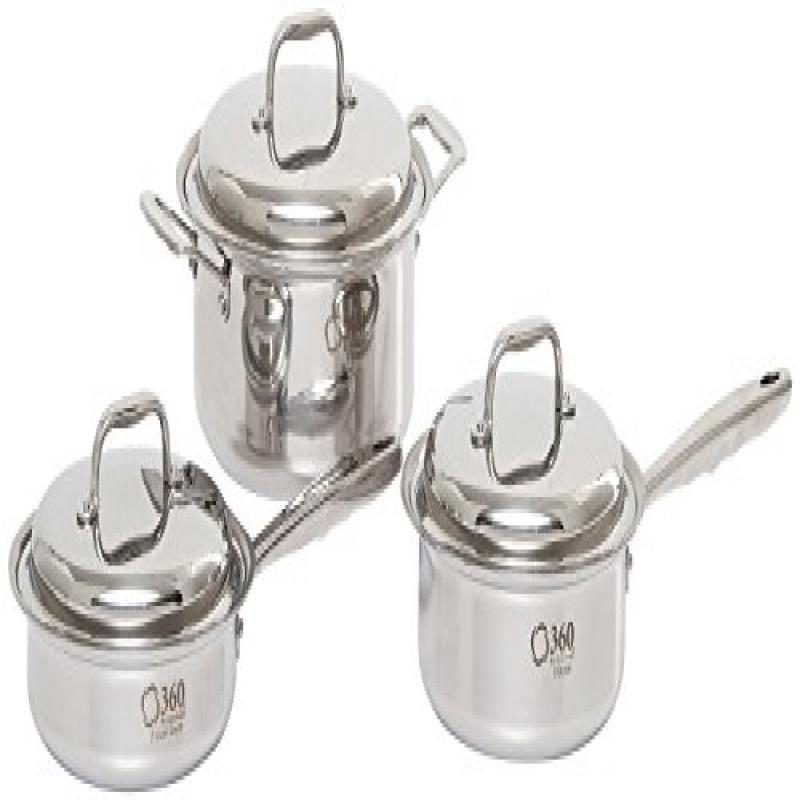360 Cookware Stainless Steel Cookware Set, 6-piece, w  Cookbook Included by