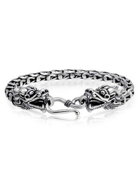 Bali Style Asian Dragon Heads Eye Hook Clasp Bracelet For Women For Men Antiqued 925 Sterling Silver