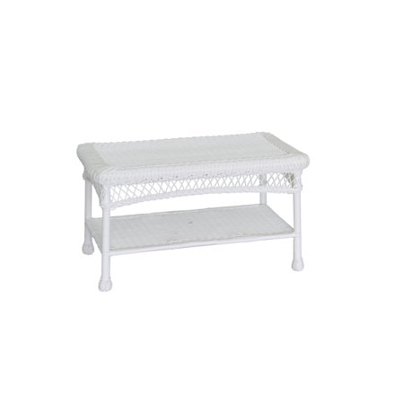 Jeco White Wicker Patio Furniture Coffee Table ()