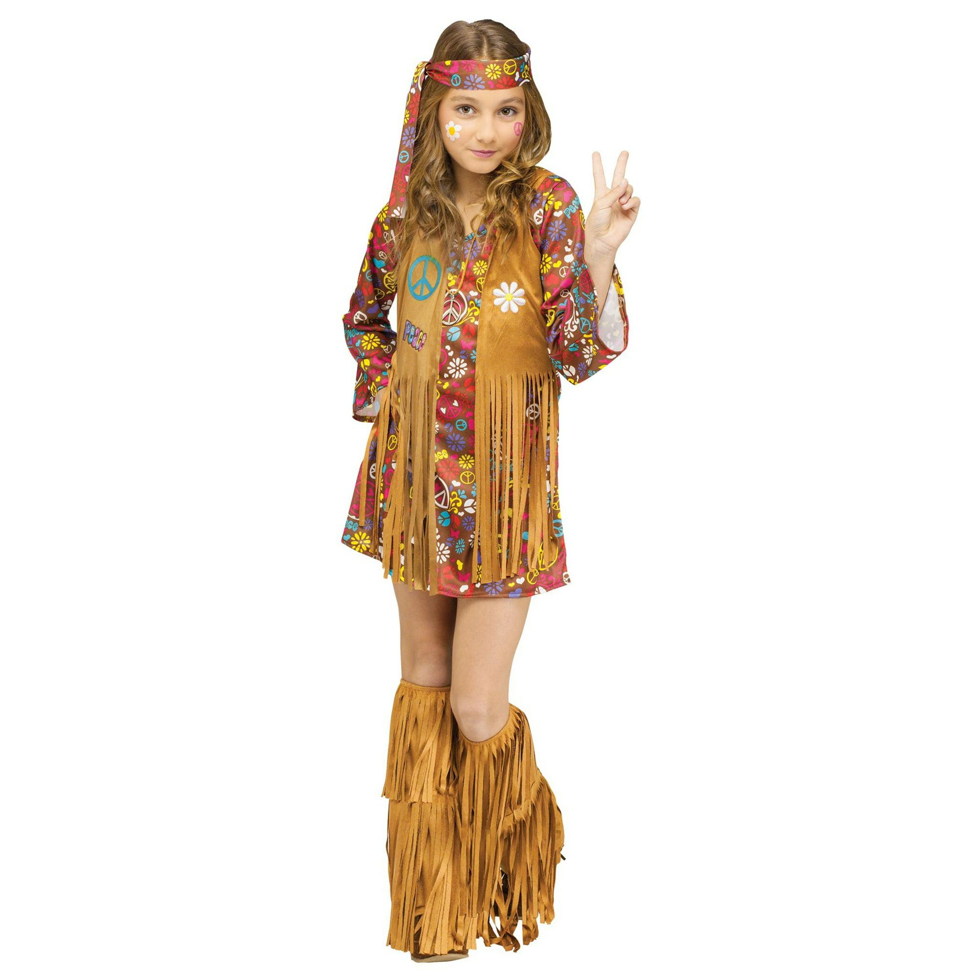 4d3de215970 The Groovy 60 s Hippie Child Girls Costume Dress Fringe Vest Flower Power