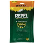 Repel Insect Repellent Mosquito Wipes 30% Deet, 2/20-ct