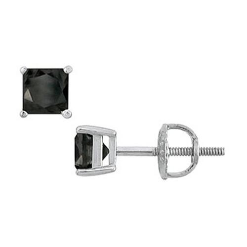 Fine Jewelry Vault SCER14WHSQ100BD 14K White Gold - Princess Cut Black Diamond Stud Earrings - 1. 00 CT.  TW.