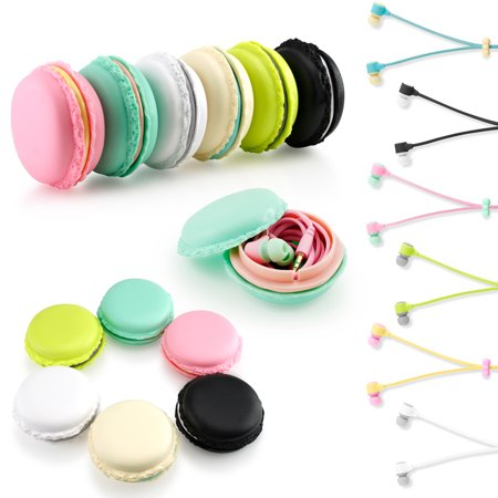 (Stereo 3.5mm In Ear Earphones Earbuds Headset with Macaron Case For iPhone Samsung MP3 iPod PC Music)