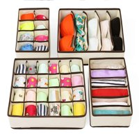 Zimtown Set of 4 Foldable Drawer Dividers, Storage Boxes, Closet Organizers, Under Bed Organizer