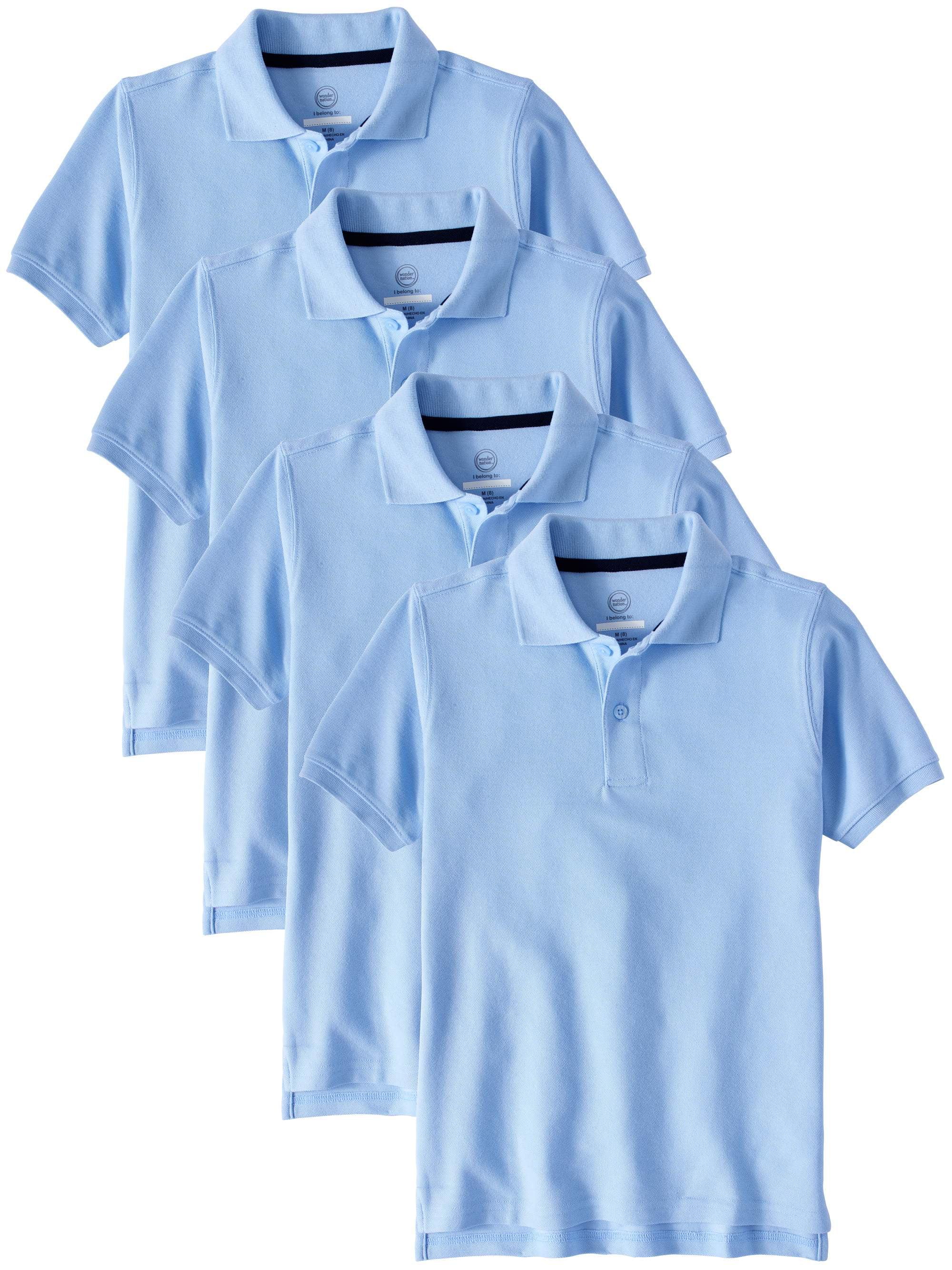 Boys School Uniform Short Sleeve Double Pique Polo, 4-Pack Value Bundle