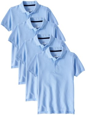 Wonder Nation Boys School Uniform Short Sleeve Double Pique Polo, 4-Pack Value Bundle (Little Boys & Big Boys)
