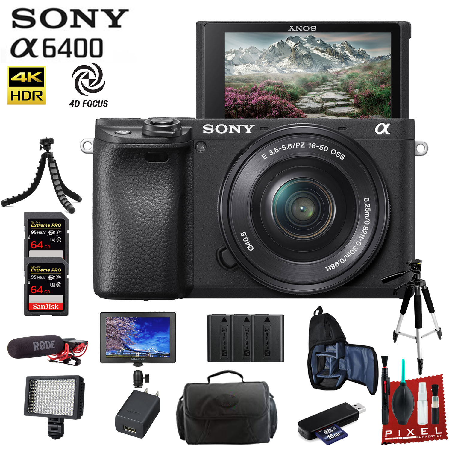 Sony Alpha a6400 Mirrorless Digital Camera with 16-50mm Lens With Bag, Tripod, 2x Extra Batteries, Rode Mic, LED Light, 4K Monitor, 2x 64GB Memory Card, Sling Bag, and More.