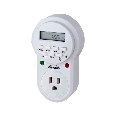 Visionis VIS-8000 Digital 7 Day Programmable Timer with 3 Prong Wall Plug In Outlet Socket, Can Be Used for Access Control Home Lights and Others, Program up to 20 Functions on a Daily Basis