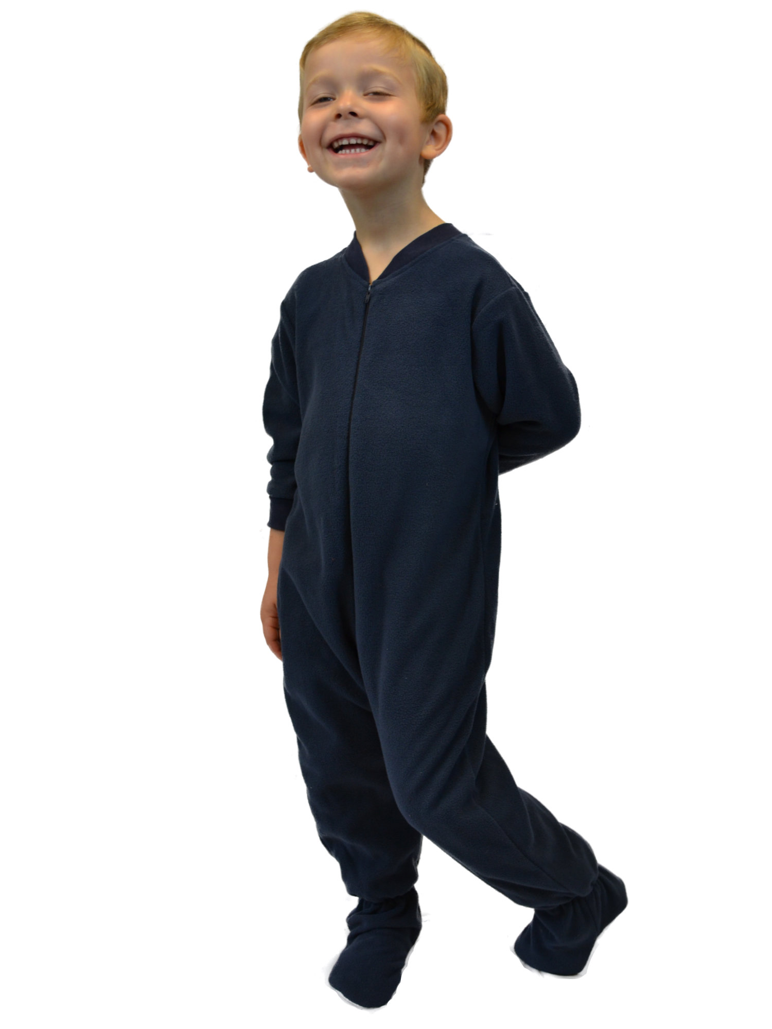 Little Boys Infant Toddler Navy Blue Fleece Footed Pajamas Sleeper