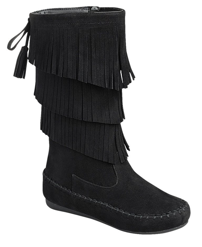 Forever CANDICE-16K KIDS Black Faux Suede Fringe Moccasin Boot Tassel Detail