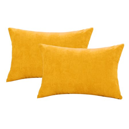 Decorative Cushion Cover Corn Stripe Decoration Throw Pillow Case Cover Shell for Sofa 12x18 Inch Dark Yellow 2pcs ()