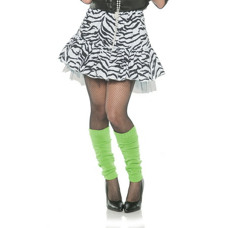 80'S Zebra Womens Adult White Black Dance Rocker Costume Skirt
