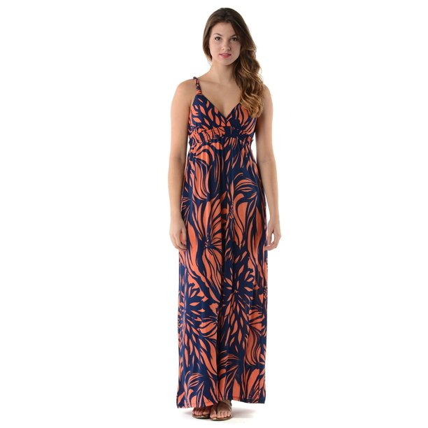 Christine V Women's Braided Strap Printed Maxi Dress - Navy - X-Large
