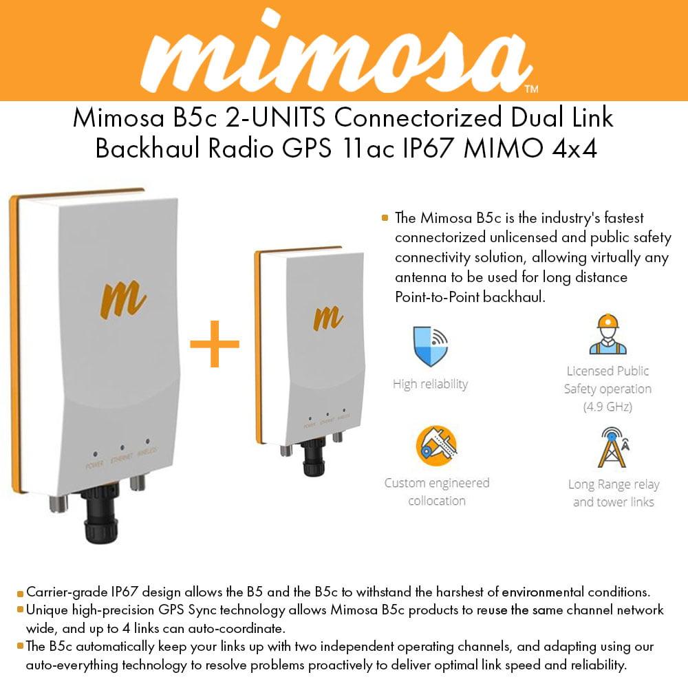 Mimosa B5c 2-UNITS Connectorized Dual Link Backhaul Radio...