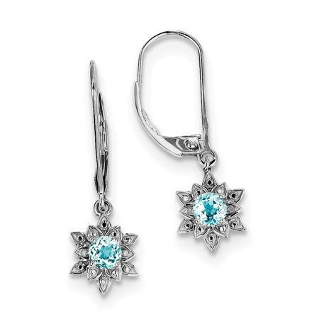 Sterling Silver Rhodium-plated Diamond & Light Blue Topaz Earrings QE10157BT - image 2 de 2