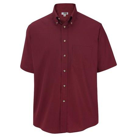 Men's Big And Tall Button Down Short Sleeve Poplin Shirt, WINE, 3XLT