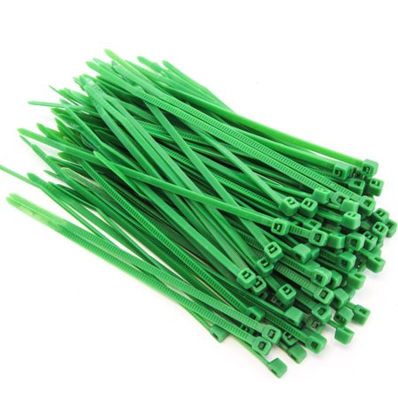 100 Heavy Duty 4 Inches 18 Pound Zip Cable Ties Nylon Wrap Green