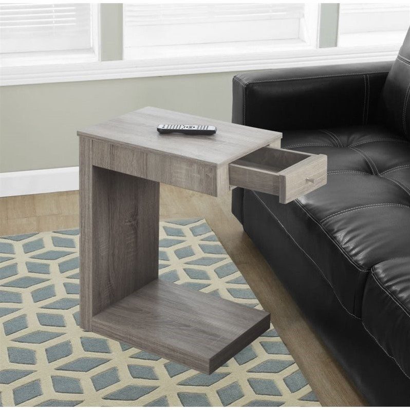 Monarch Accent Table Dark Taupe With A Drawer by Monarch Specialties