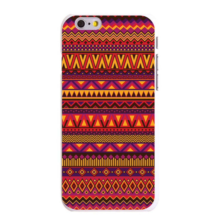 "CUSTOM White Hard Plastic Snap-On Case for Apple iPhone 6 PLUS / 6S PLUS (5.5"" Screen) - Purple Red Yellow Tribal Print"