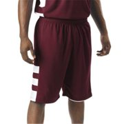 A4 N5334 10 in. Adult Reversible Speedway Short - Cardinal & White, Small