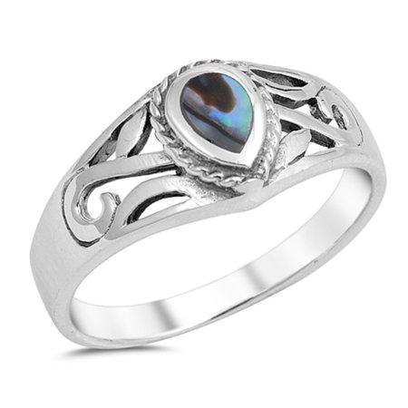 Sterling Silver Women's Simulated Abalone Filigree Teardrop Ring (Sizes 5-10) (Ring Size