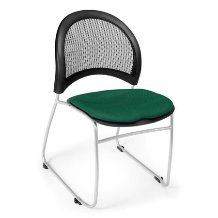 - OFM Moon Fabric Stacking Chair in Forest Green