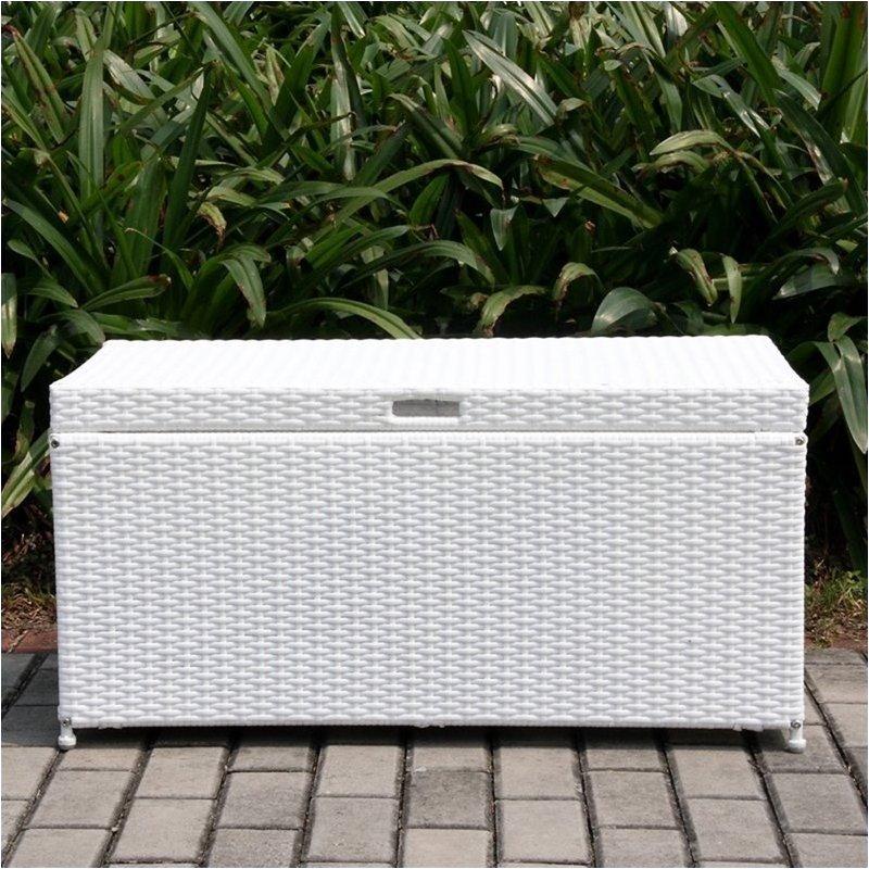 Bowery Hill Wicker Patio Storage Deck Box in White