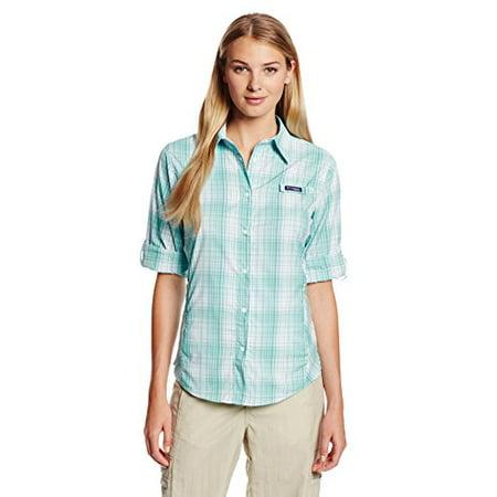 Columbia Sportswear Women's Super Tamiami Long Sleeve Shirt, Oceanic/Plaid, X-Small