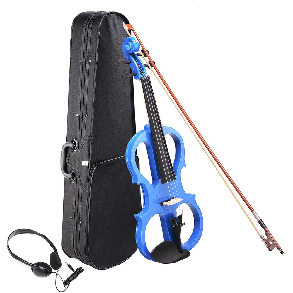 4/4 Electric Violin Full Size Wood Silent Fiddle Stringed Instrument Bow Headphone Case