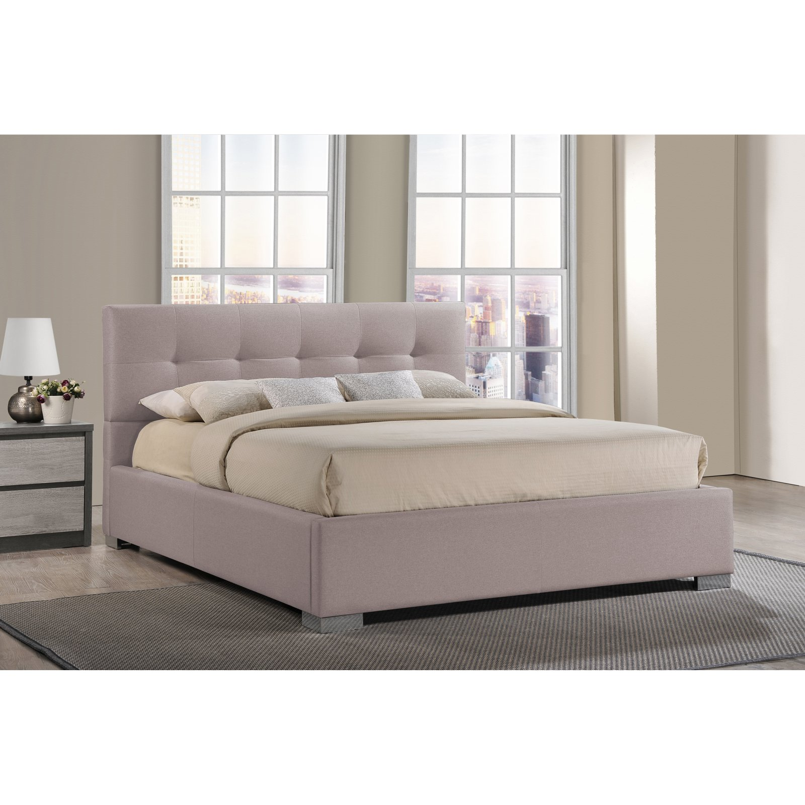 Baxton Studio Regata Modern and Contemporary Upholstered Platform Bed, Multiple Sizes, Multiple Colors