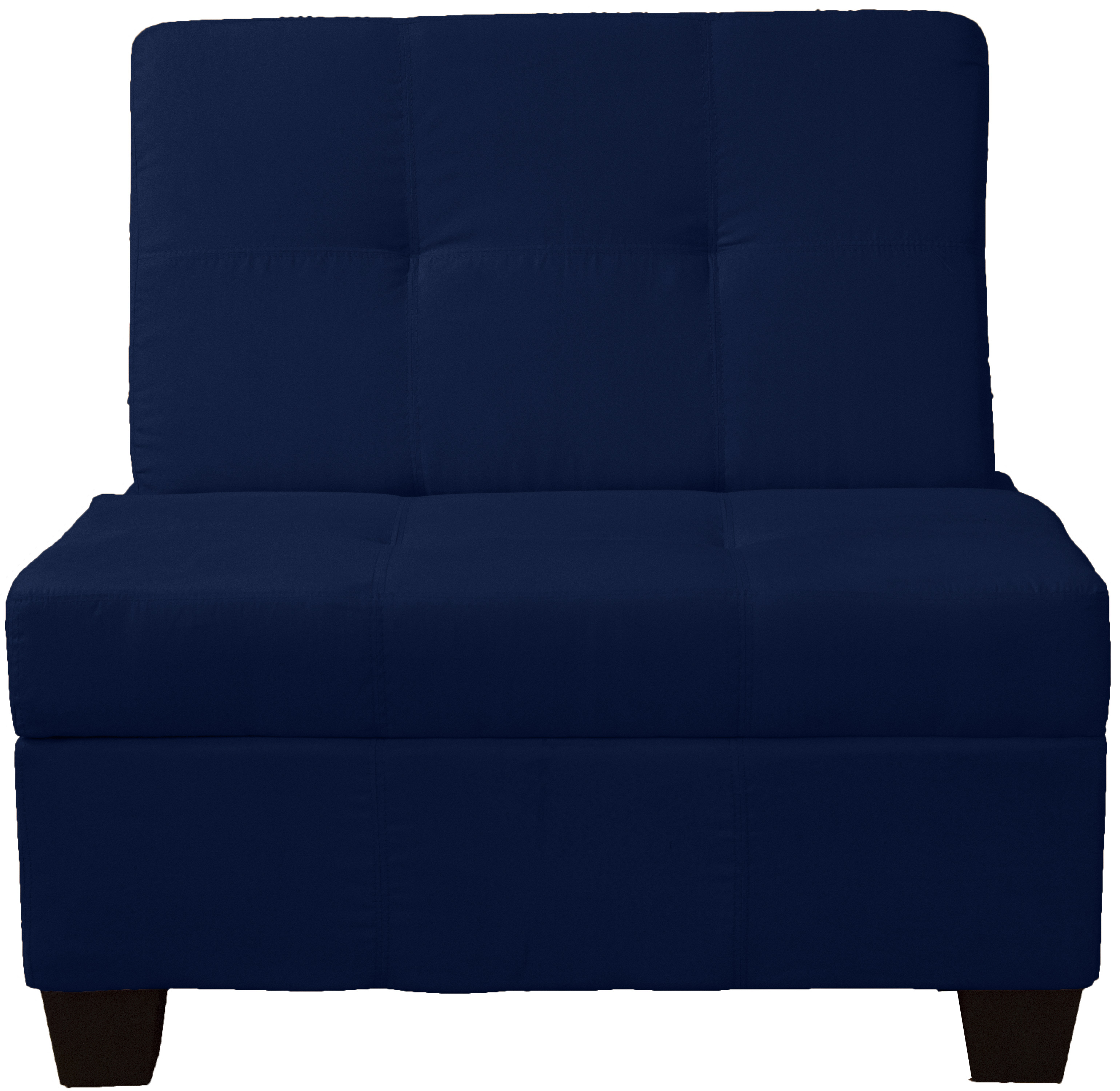 Pizzazz Upholstered Tufted Padded Hinged Storage Ottoman Bench 36 Inch Size Suede Dark Blue