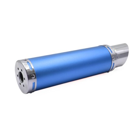 28mm Inlet Dia. Blue Aluminum Alloy Exhaust Pipe Motorcycle Muffler (Motorcycle Muffler 2 Inlet)