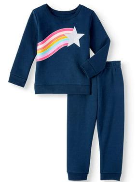 Garanimals Long Sleeve Graphic Sweatshirt & Solid Sweatpants, 2pc Outfit Set (Toddler Girls)