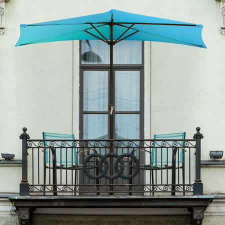 Half Round Patio Umbrella with Easy Crank- Small Space Outdoor Shade Umbrella for Balcony, Porch, Deck, Awning- 9 Foot by Pure Garden (Brilliant Blue) ()