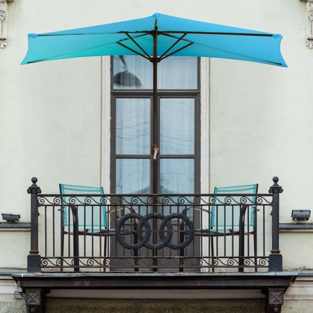 Half Round Patio Umbrella with Easy Crank- Small Space Outdoor Shade Umbrella for Balcony, Porch, Deck, Awning- 9 Foot by Pure Garden (Brilliant Blue)