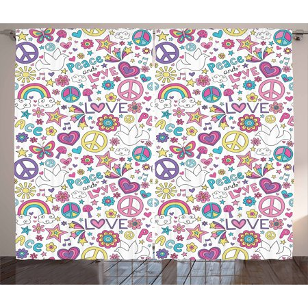 Doodle Curtains 2 Panels Set, Retro Symbols of Sixties Peace Magic Mushroom Love Stars and Hearts Hippie Music, Window Drapes for Living Room Bedroom, 108W X 96L Inches, Multicolor, by