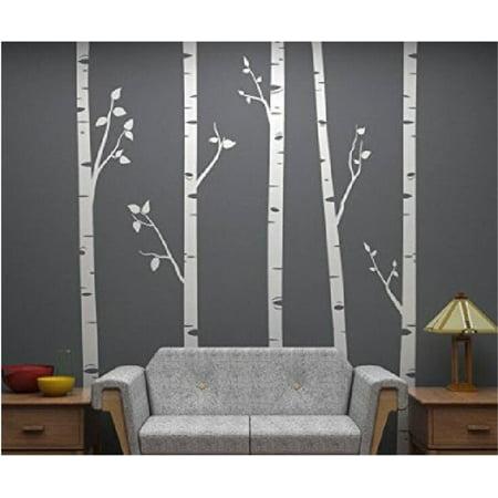 Tayyakoushi White Birch Tree Vinyl Wall Decals Nursery Forest Family Tree Wall Stickers Art Decor Murals - Set of 5, 244x58cm