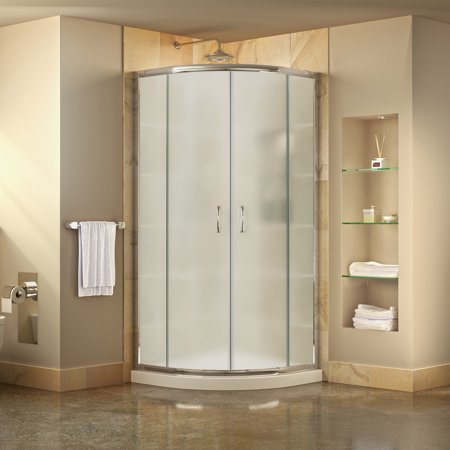 DreamLine Prime 36 in. D x 36 in. W x 74 3/4 in. H Frosted Framed Sliding Shower Enclosure in Chrome, Corner Drain White Base Kit Drain Shower Enclosure