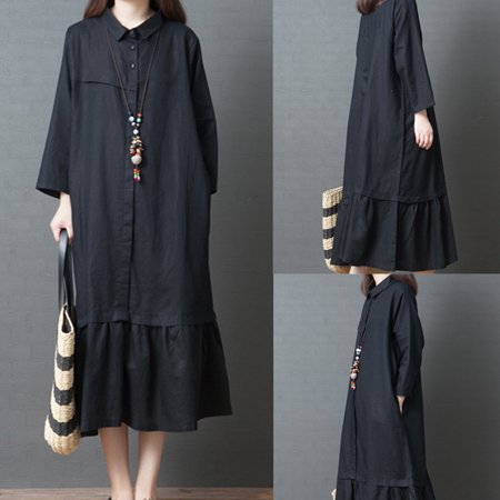 Women Long Dress Big Code Girl Pure Color Linen Long Sleeve Shirt Dress Hot Sale