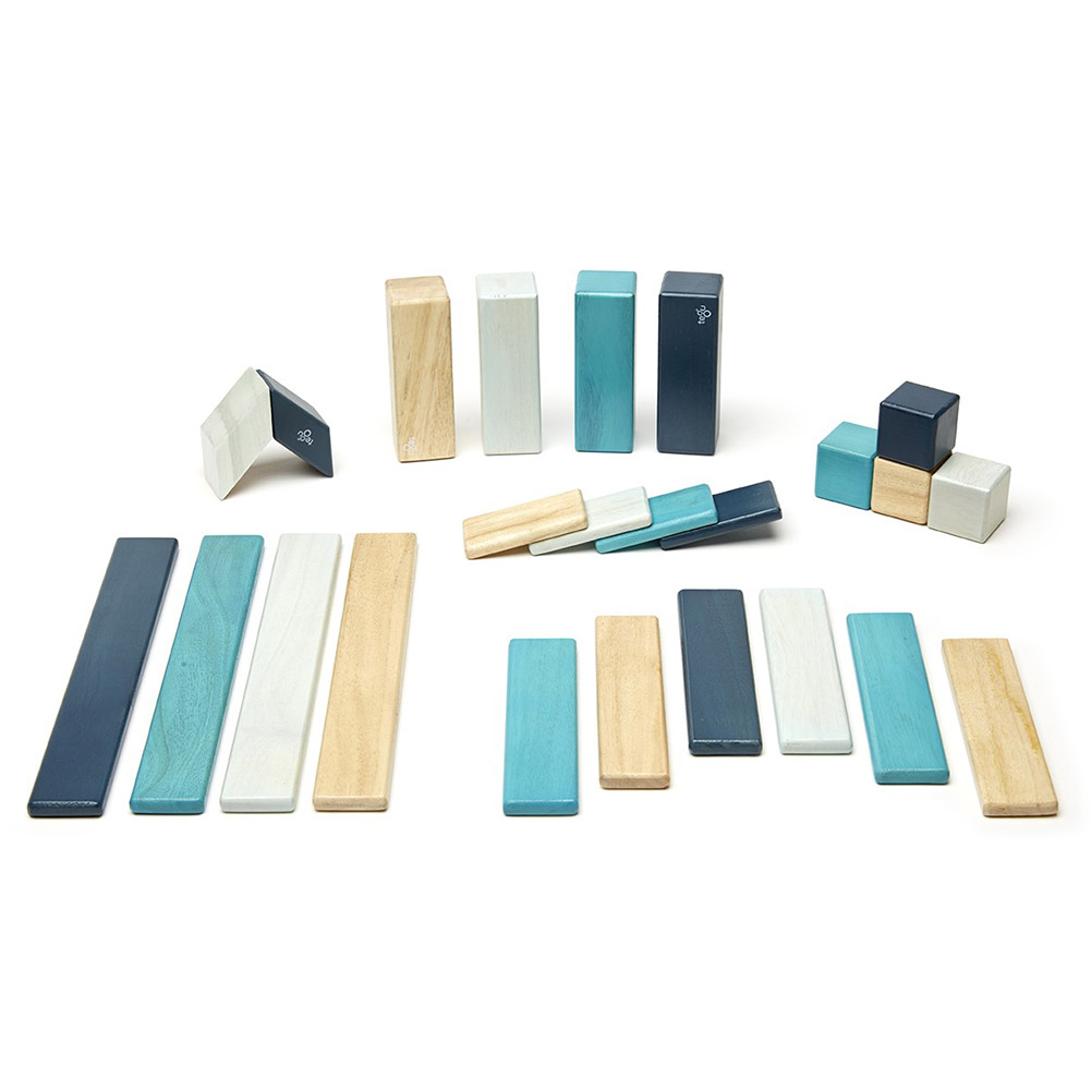 Tegu 24 Piece Magnetic Wooden Block Set, Blues