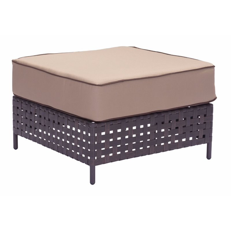 ZUO Pinery Patio Ottoman in Brown and Beige
