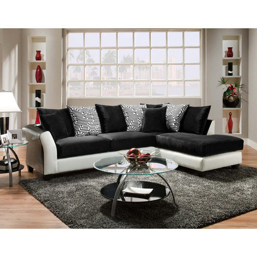 Chelsea Home Furniture 424174-02-SEC Lambda 2 Pc Sectional in Jefferson Black- Avanti White