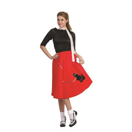 Red Poodle Skirt 50's Scarf Sock Hop 1950's Retro Grease Sandra Dee - Sandra Dee Grease